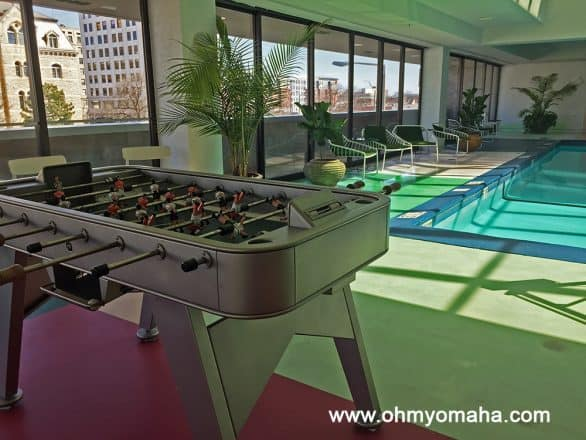The pool at Graduate Lincoln is deeper than typical hotel pools. The pool deck had a foosball table and ping pong, plus access to some rooftop decks for lounging.