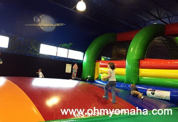 Lost in Play in Lincoln, Nebraska had a bounce house, jumping pillow, foam pit, and climbing structures.