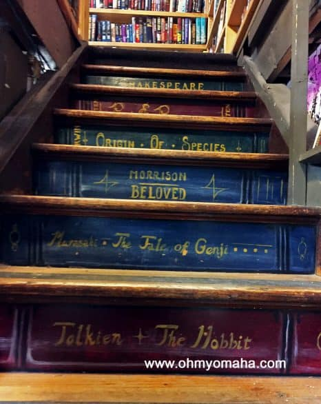 Shopping in Lincoln, NE - The stairs inside A Novel Idea used bookstore
