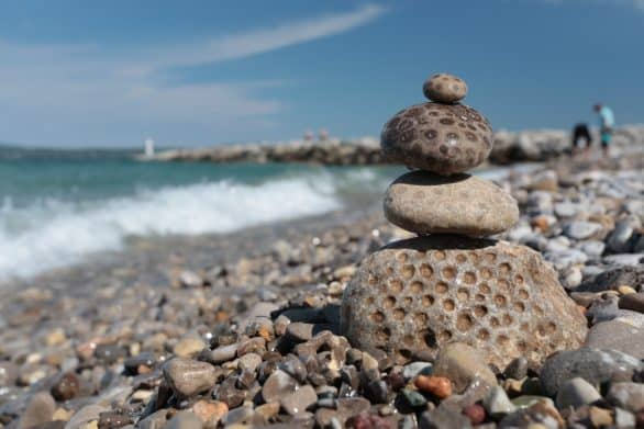 Stack of Petoskey stones