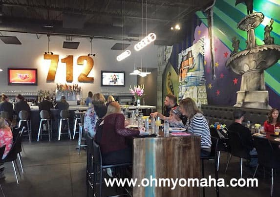 Interior of 712 Eat + Drink in Council Bluffs, Iowa. It's a participating restaurant in the Libate app.