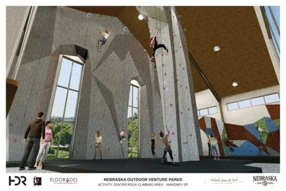Artist rendering of Mahoney State Park climbing walls