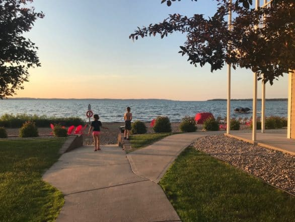 The private beach at Cherry Tree Inn & Suites in Traverse City, Michigan
