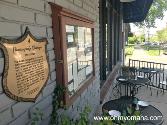 Hemingway plaque in front of City Park Grill in Petoskey