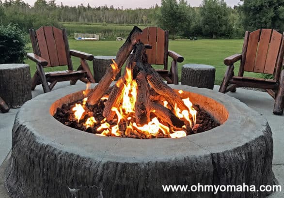 Fire pit at Stafford's Crooked River Lodge in northern Michigan