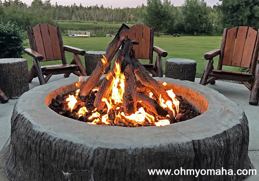 Fire pit at Stafford's Crooked River Lodge in Michigan