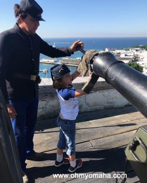 Prepping the cannon at Fort Mackinac