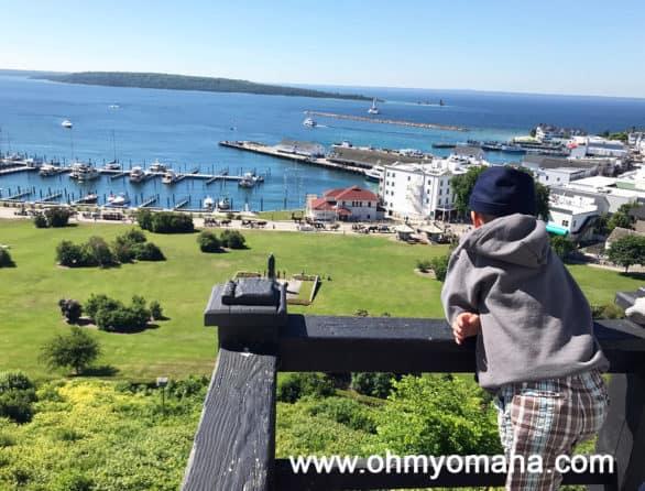 View of Mackinac Island marina from Fort Mackinac