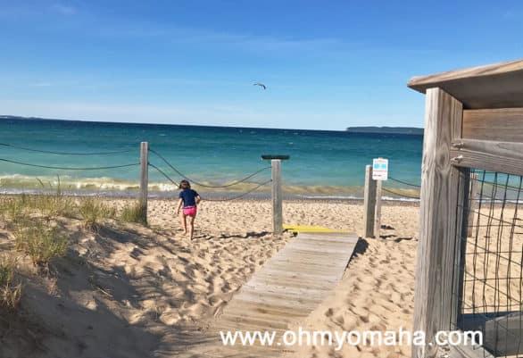 Sandy beach at Glen Haven Beach in northern Michigan