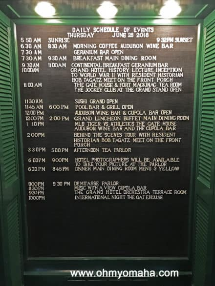 Schedule of events at Grand Hotel