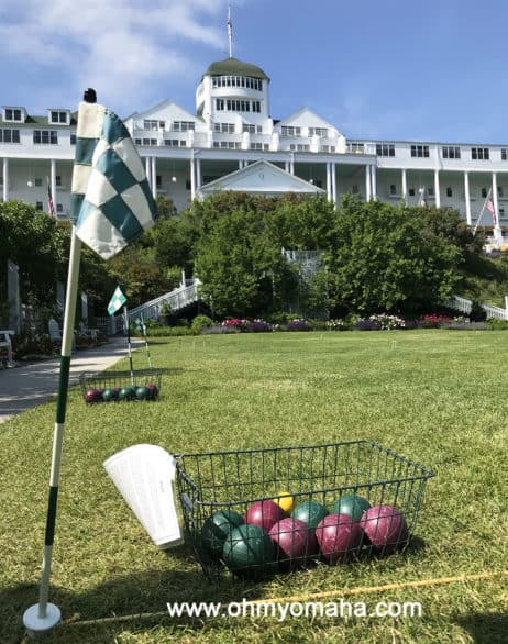 Croquet courts on the front lawn of Grand Hotel