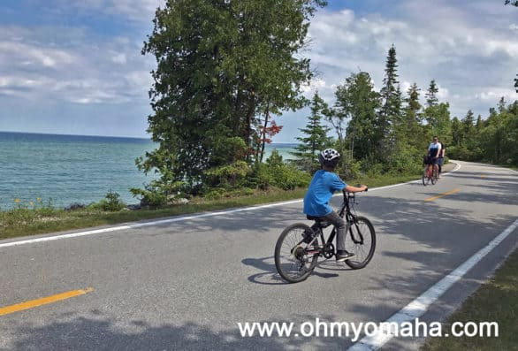 Bike riding on the state highway on Mackinac Island