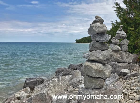 Stacked stones on Mackinac Island