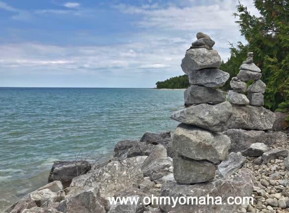 Stacked stones on Mackinac Island