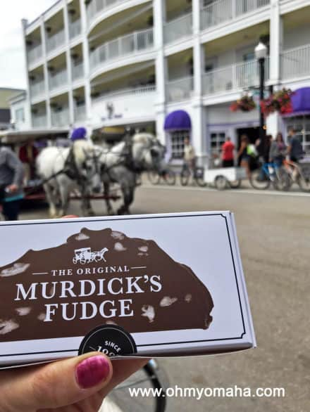Box of Murdick's Fudge on Mackinac Island