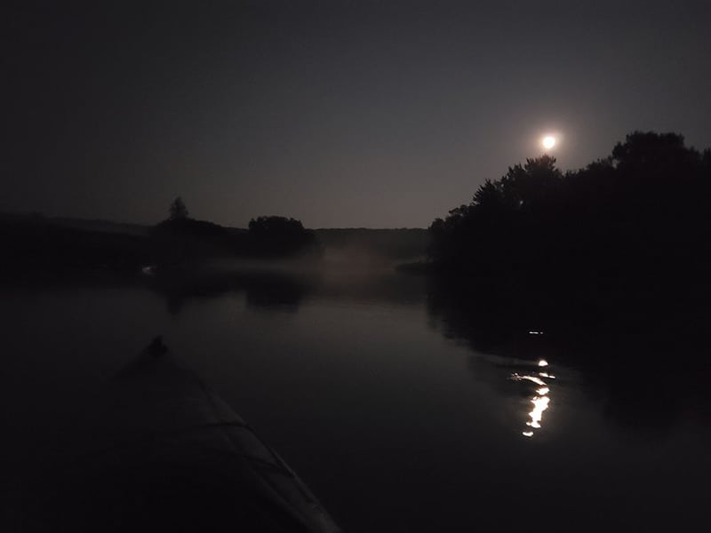 Moonlight kayaking on the Upper Iowa River