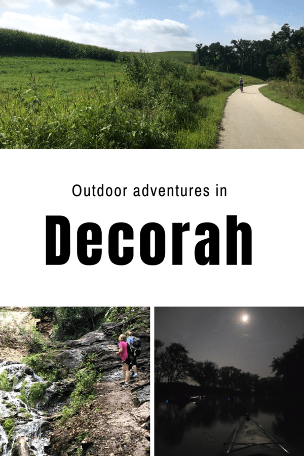 Kayaking the Upper Iowa River, biking, and climbing a waterfall in Decorah, Iowa - Here's how to have an active getaway in eastern Iowa around the Driftless Area #thisisiowa #outdoors #adventure