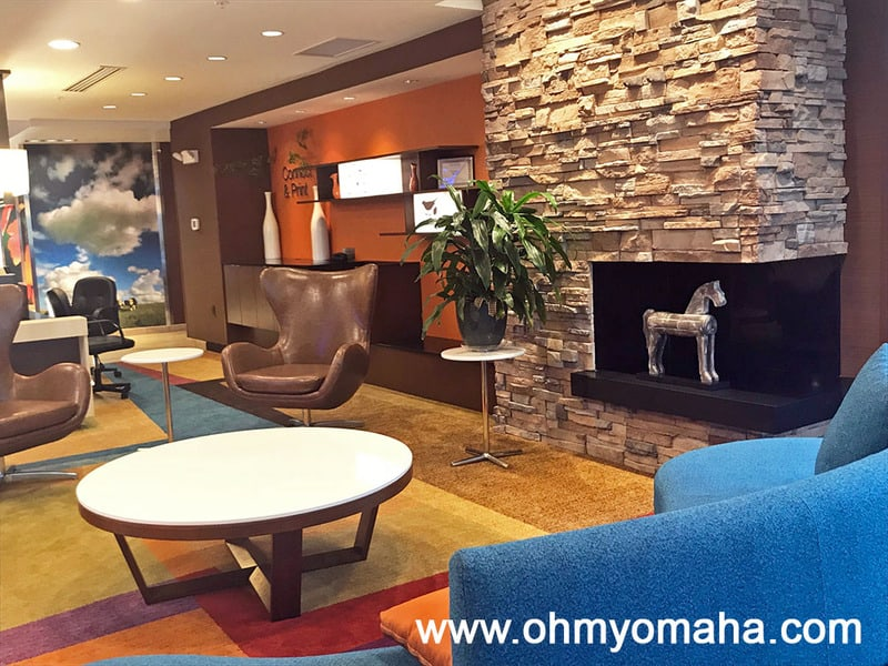 The colorful lobby at the Fairfield Inn & Suites in Decorah, Iowa.