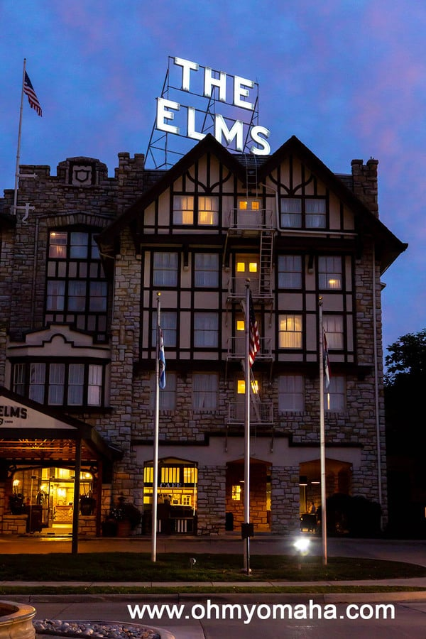 Entrance to The Elms Hotel & Spa in Excelsior Springs, Missouri