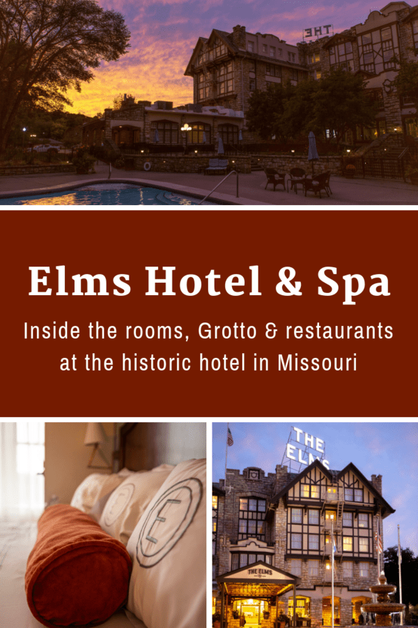 The historic Elms Hotel & Spa in Excelsior Springs, just outside Kansas City, is a great getaway for couples. Go for the spa services & Grotto, and then stay for the food, friendly employees & history. #Missouri #USA #romantic #getaway