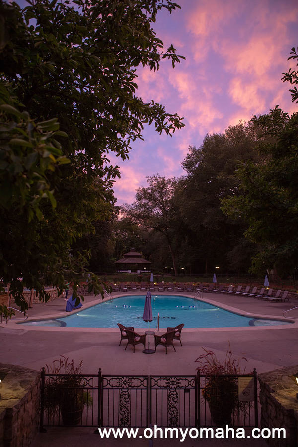 Elms Hotel pool at sunset