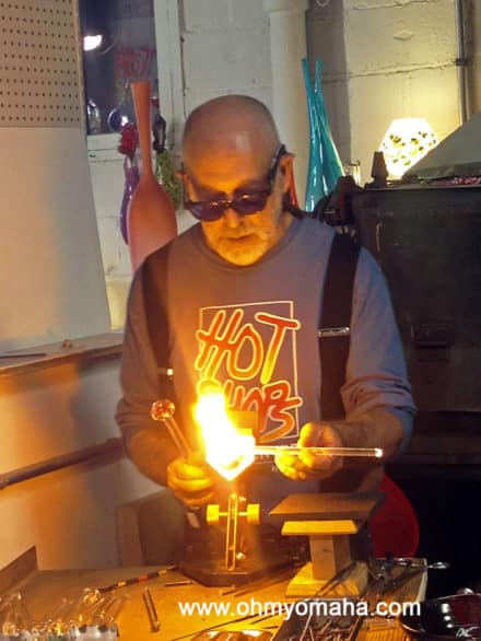 Glass blowing demonstration at Hot Shops in Omaha, Nebraska.