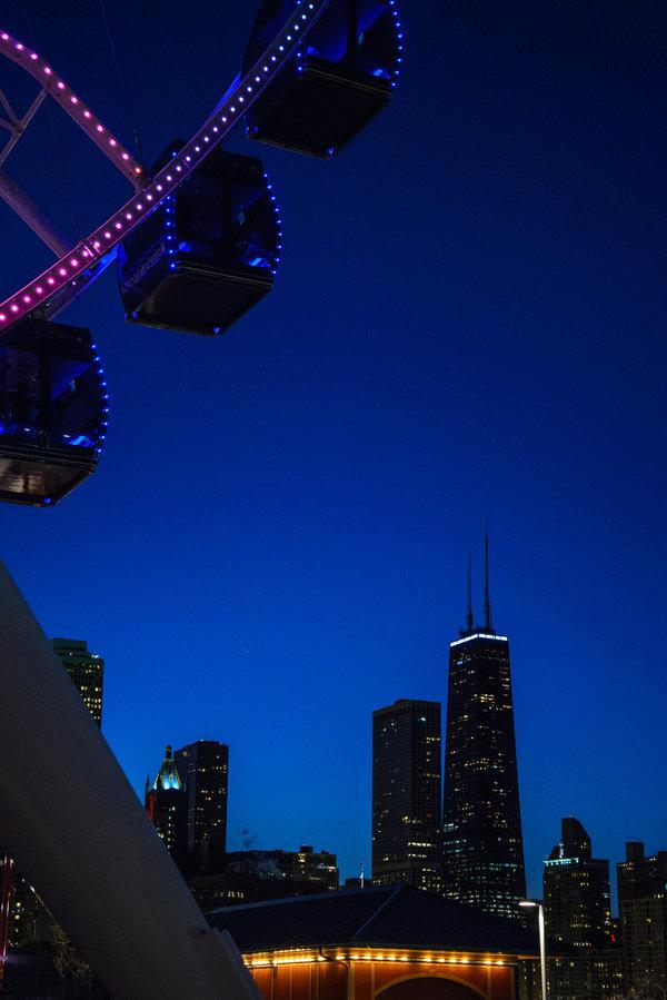 The ferris wheel at Navy Pier in downtown Chicago. Navy Pier is home to Winter Wonderfest in December.