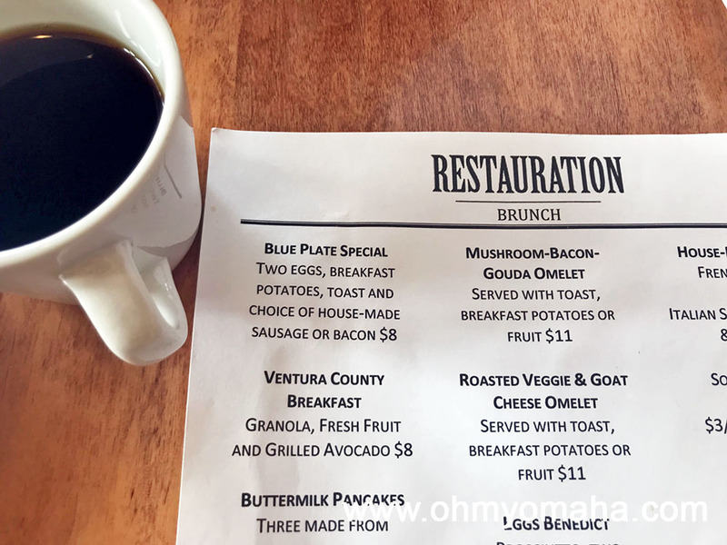 Restauration's brunch menu