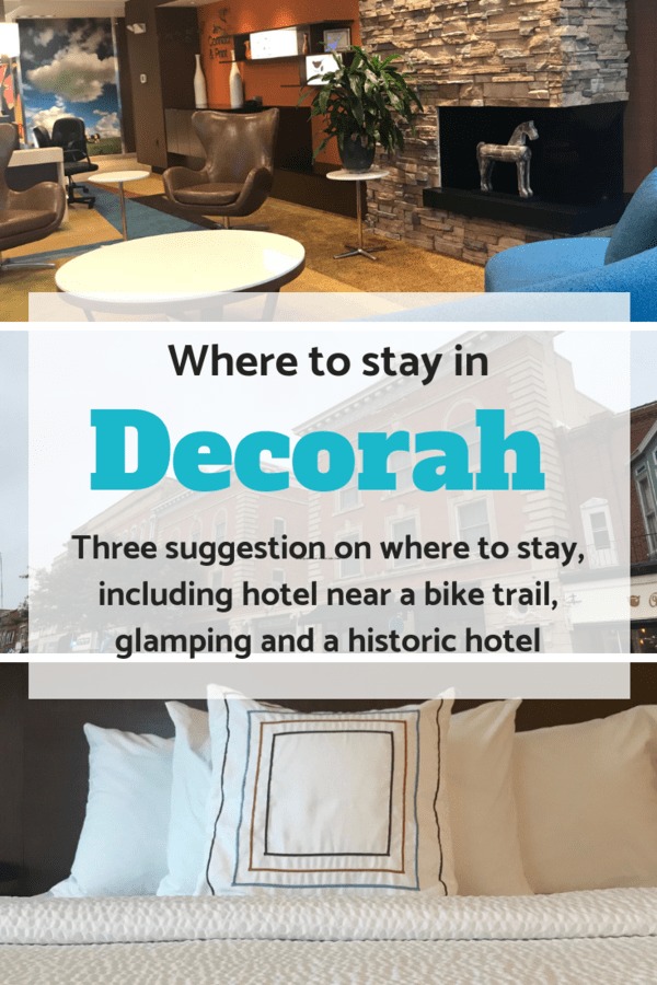 Hotel and glamping suggestions for Decorah, Iowa - Whether you want a hotel near Trout Run Trail, a historic hotel downtown, or you want to try glamping at Luna Valley Farm, there are options in the small town that fits your needs #hotels #glamping