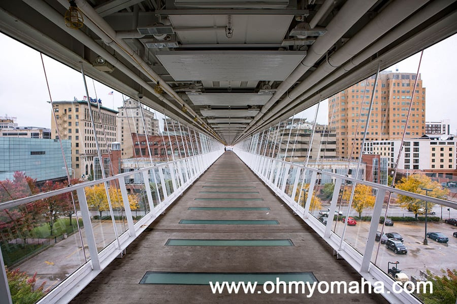 The view from inside the Davenport Skybridge in Iowa