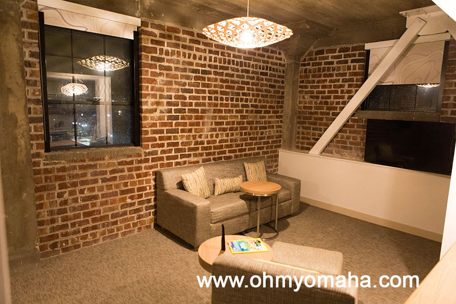 Exposed brick in the guest room at Element Moline in Illinois