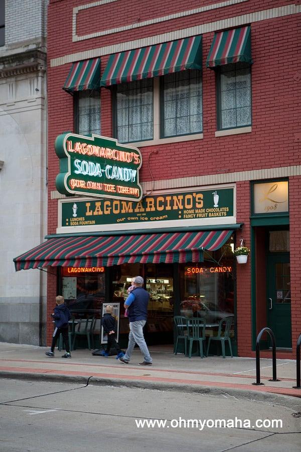 Exterior of the original location of Lagomarcino's in Moline, Illinois