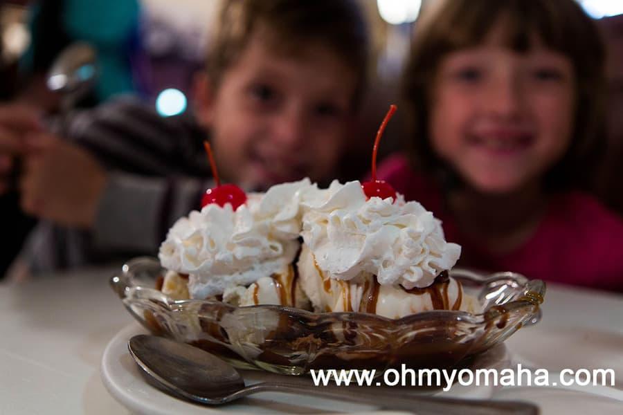 Ice cream sundae at Lagomarcino's