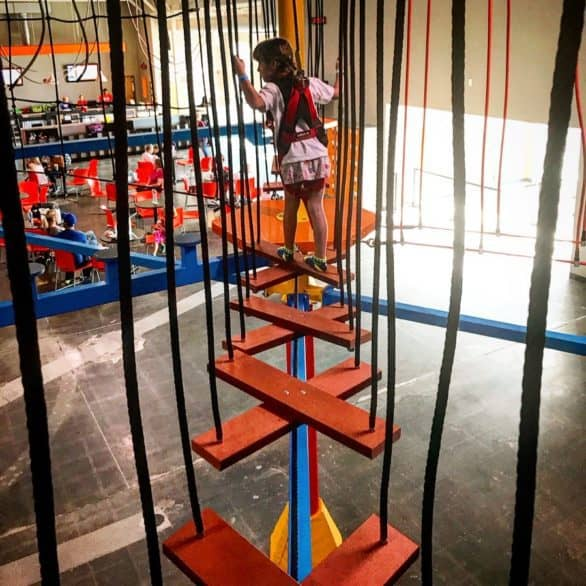 Looking for things to in the summer in Omaha? Head indoors! Urban Air Trampoline and Adventure Park is West Omaha has a ropes course. #Nebraska #familyfun