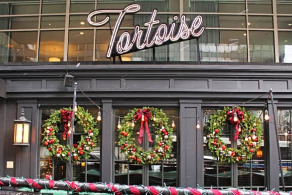 Exterior of Tortoise Supper Club decorated for Christmas