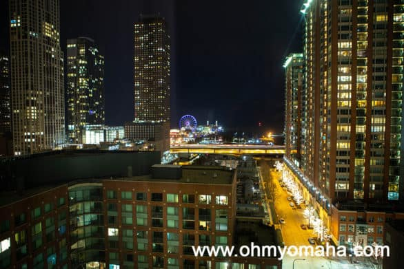 View from Loews Chicago facing Navy Pier at night