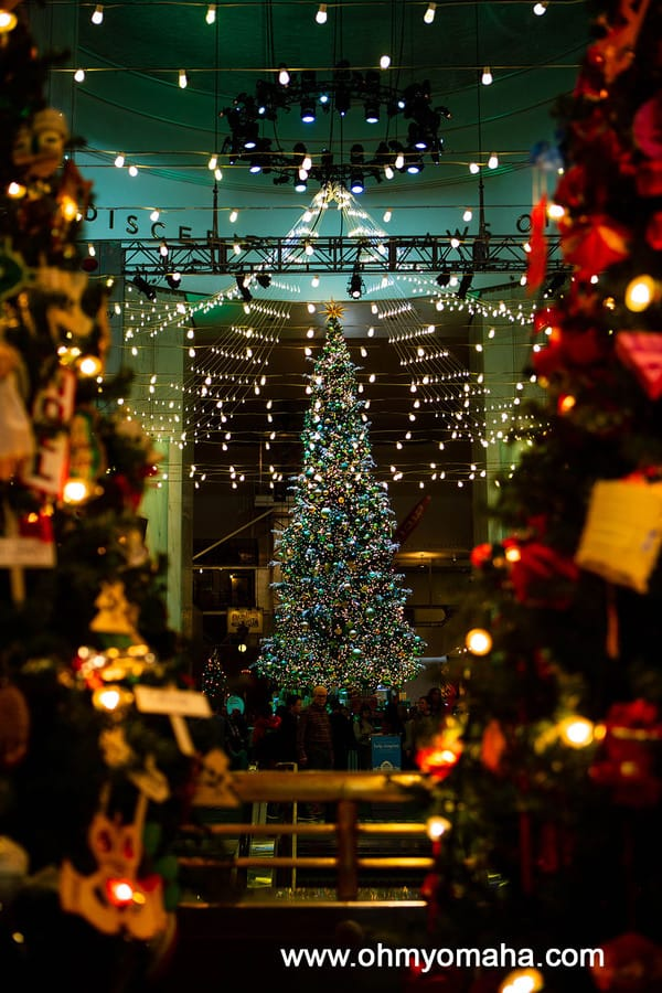 The Museum of Science and Industry in Chicago is decorated for Christmas each year and includes the Grand Tree as the centerpiece.