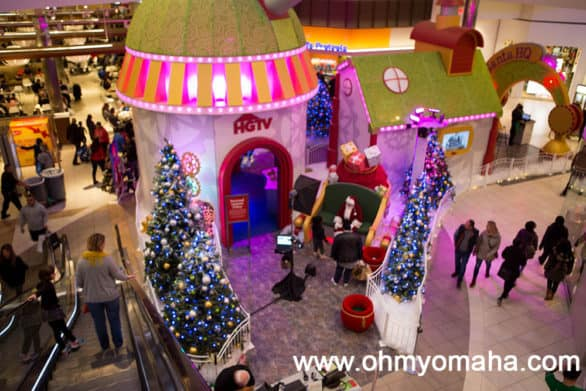The view of Santa HQ from the second floor of the Fashion Outlets of Chicago. The seasonal experience is at the mall every November and December.