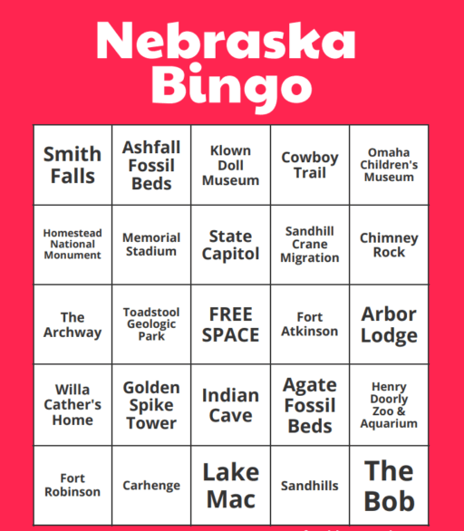 How many landmarks can you check off on Nebraska Bingo? I've got more places to visit in this state! #Nebraska #Bingo #travel