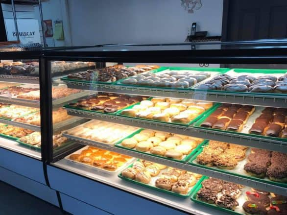 Bakery case at Bearscat Bakehouse in North Dakota
