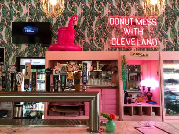 The bar at Brewnuts in Cleveland, Ohio, where you can order a beer to be paired with your donut.