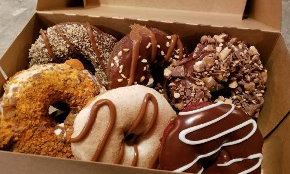 A box of donuts from Hurts Donuts Company in Springfield, Missouri.