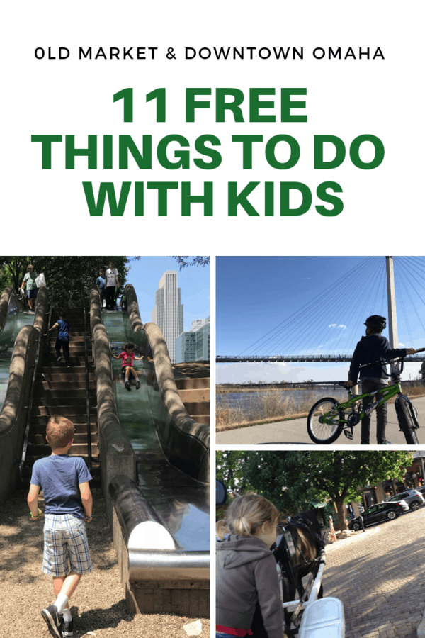 Guide to free things to do with kids in Omaha's Old Market and other places downtown. This list includes unique stores, Instgagram-worthy stops, and fun attractions that are free! If you're unsure what to do in downtown Omaha, start with this post! #Nebraska #familytravel