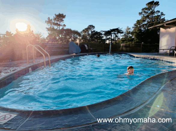 Heated outdoor pool at Hofsas House Hotel in Carmel-by-the-Sea California
