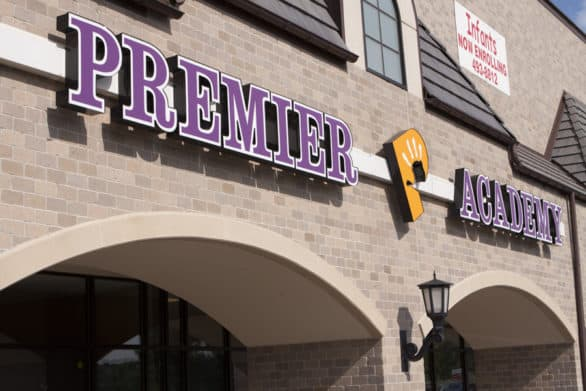 Exterior of Premier Academy, a daycare center with locations in Omaha and Elkhorn, Nebraska