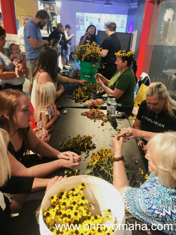 Making flower crowns at Omaha Children's Museum