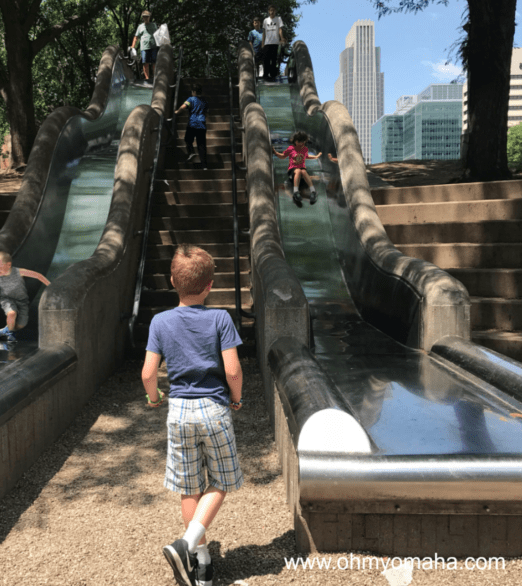 The downtown Omaha slides are the most popular things to do. They're on the edge of the Old Market in Omaha, at 11th and Farnam streets.