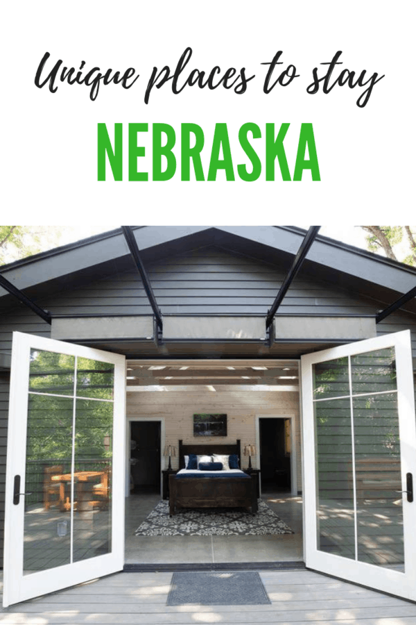 Stay somewhere fun in the Cornhusker State! Here's a list of unique places to stay in Nebraska, from clamping to staying in a corn crib, one-room school house or teepee #Nebraska #travel