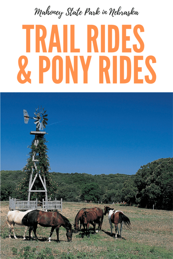 Guide to Mahoney State Park horseback riding and pony rides. Mahoney is one of Nebraska's most popular state parks, and the trail rides are one of the favorite activities for kids there. #horses #trailrides #familytravel