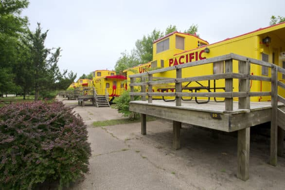 A row of caboose cabins at Two Rivers State Recreation Area near Omaha, Nebraska